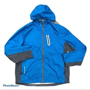 Glaciers Edge Blue Grey Trim Rain Jacket L